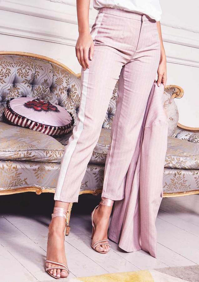 Missyempire Nicola Pink Pinstripe High Waist Suit Trousers