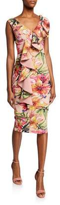 Chiara Boni Floral-Print V-Neck Sleeveless Asymmetric Ruffle Dress