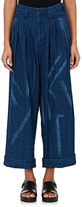 Yohji Yamamoto Women's Tie-Dyed Chambray Pants $1,320 thestylecure.com