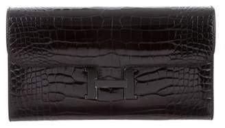 Hermes 2016 So Black Alligator Constance Wallet