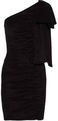 Sea One-shoulder Ruched Stretch-poplin Mini Dress - Black