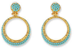 Jose & Maria Barrera Turquoise Hoop Drop Clip-On Earrings