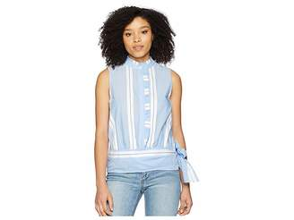 Vince Camuto Sleeveless Ruffle Front Tie Waist Yarn-Dyed Stripe Shirt Women's Blouse