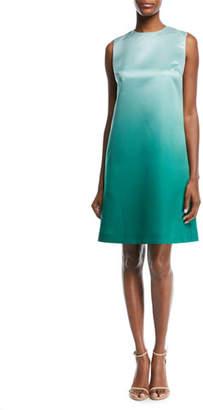 Escada Sleeveless Ombré Duchess Satin A-Line Dress