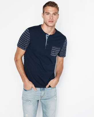 Express Color Block Striped Short Sleeve Henley