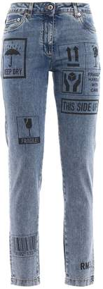 Moschino Printed Faded Jeans