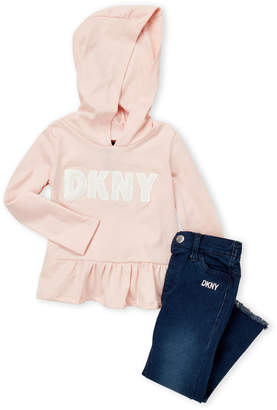DKNY Toddler Girls) Two-Piece Ruffle Hoodie & Jeans Set