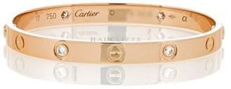 Cartier Love 18K Rose Gold 4 Diamond Bangle Bracelet Size 17