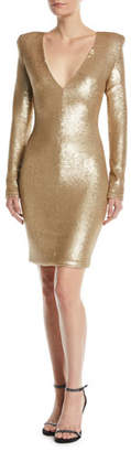 Black Halo Poppy Long-Sleeve Sequin Sheath Dress