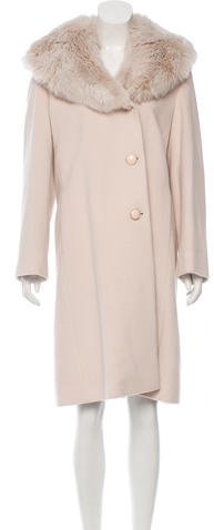 Cole Haan  Cole Haan Fox Collar Knee-Length Coat