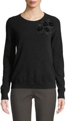 Badgley Mischka Cashmere Sweater w/ Embellishments