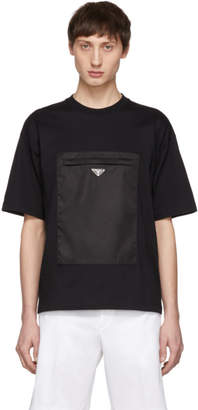 Prada Black Gabardine Pocket T-Shirt