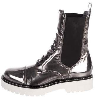 Dolce & Gabbana Metallic Leather Combat Boots