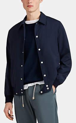 Eleventy Men's Tech-Taffeta Snap-Front Shirt Jacket - Navy