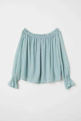 H&M Off-the-shoulder Blouse - Turquoise