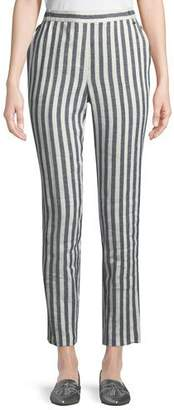 St. John Stretch-Linen Stripe Twill Cropped Pant