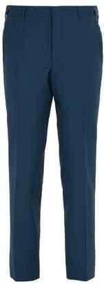 Prada Straight Leg Wool Blend Trousers - Mens - Blue