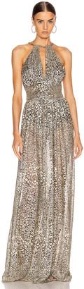 PatBO Metallic Leopard Keyhole Maxi Dress in Gold | FWRD