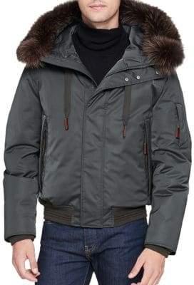 Andrew Marc Fox Fur-Trimmed Bomber Jacket