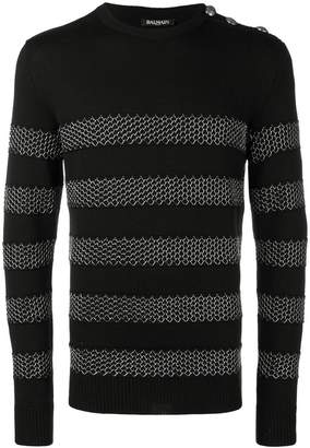 Balmain chain mail stripe sweater