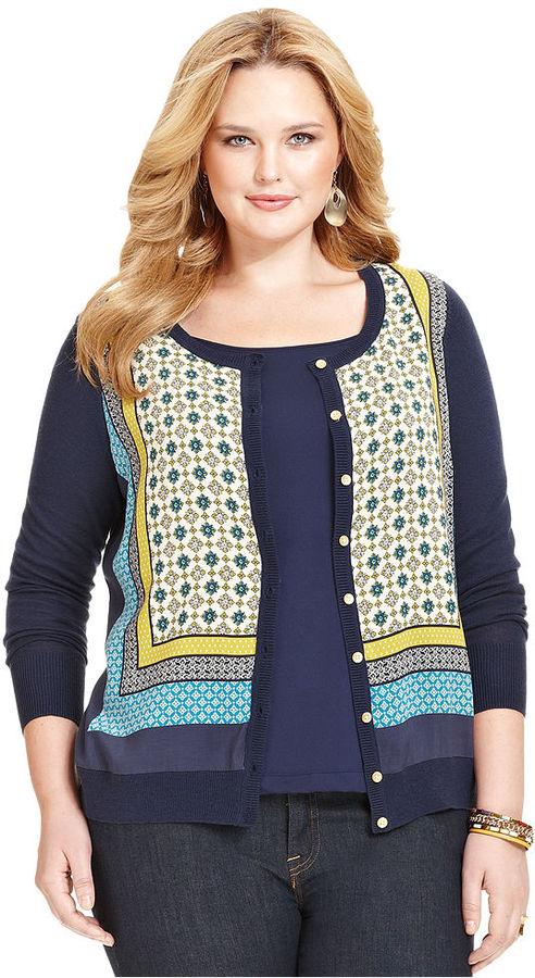 Lucky Brand Plus Size Long-Sleeve Scarf-Print Cardigan