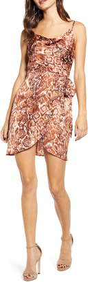 J.o.a. Cowl Neck Snakeskin Print Silk Dress