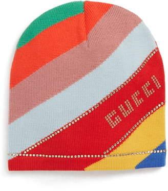 Gucci Crystal Logo Stripe Wool Beanie