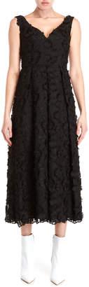 Moschino Floral Applique Midi Dress