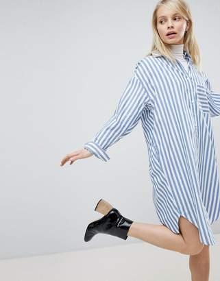 Monki Oversized Striped Shirt Dress