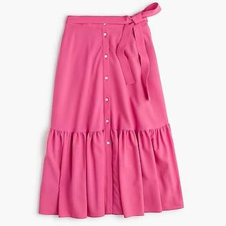 J.Crew Collection tie-waist button-front skirt in Italian wool