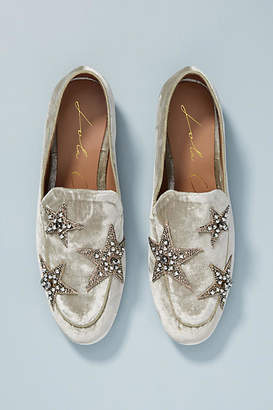 Lola Cruz Velvet Star Loafers