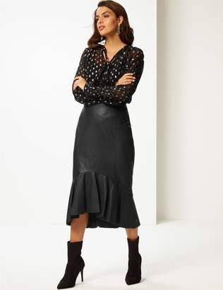 Marks and Spencer Leather Fishtail Midi Skirt