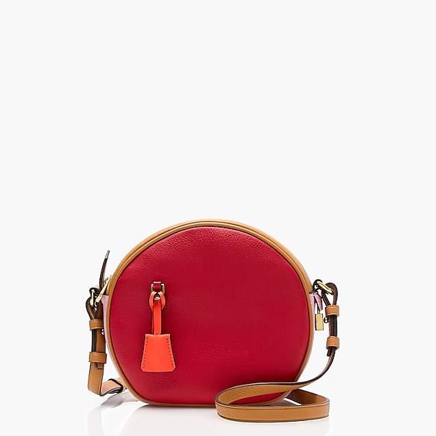 Signet circle bag in colorblock Italian leather