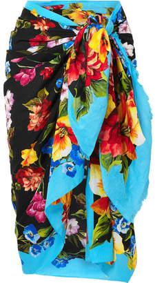 Dolce & Gabbana Floral-print Cotton-gauze Pareo - Black