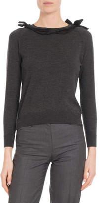 Simone Rocha Ribbon Round-Neck Long-Sleeve Wool-Blend Knit Sweater