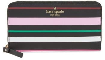 Kate SpadeWomen's Kate Spade New York Harding Street Fiesta Stripe Michele Leather Wallet - Black