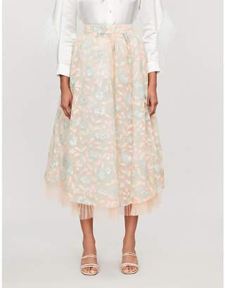 Huishan Zhang Jule sequin-embellished tulle midi skirt