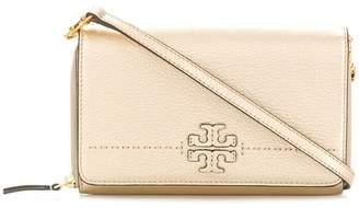 Tory Burch McGraw metallic flat wallet cross-body bag