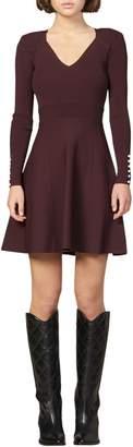 Sandro Otane Pearly Cuff Long Sleeve Fit & Flare Dress