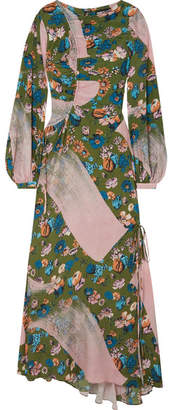 House of Holland Floral-print Crepe De Chine Maxi Dress - Army green