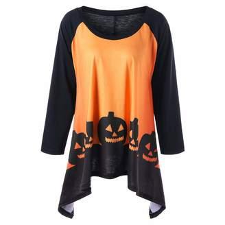 COTTONI-Tops Sweatshirts for Teen Girls Hoodie,Women's Plus Activewear,Halloween Pumpkin Head Print Irregular Top