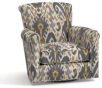 Pottery Barn Irving Upholstered Swivel Armchair - Print and Pattern
