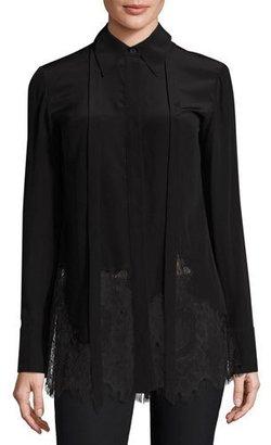 McQ Alexander McQueen Long-Sleeve Fluid Silk Blouse, Black $480 thestylecure.com