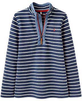 Little Joule Boys' Dale Saltwash Half-Zip Stripe Sweatshirt, Navy