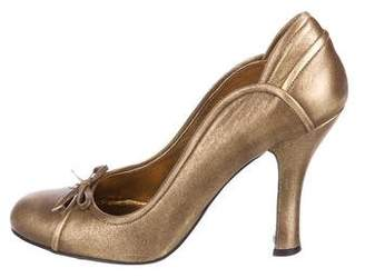 Miu Miu Metallic Bow Pumps