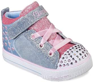 4c37591f0368 Skechers Twinkle Toes Shuffle Lite Dainty Denims Toddler Girls  Light Up  Shoes
