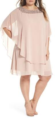 Xscape Evenings Beaded Neck Chiffon Overlay Dress