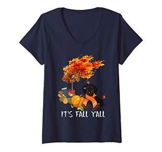 Womens It's Fall Y'All Tee Dachshund Dog Autumn Halloween Lover V-Neck T-Shirt