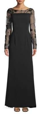 Carmen Marc Valvo Long-Sleeve Lace Evening Gown