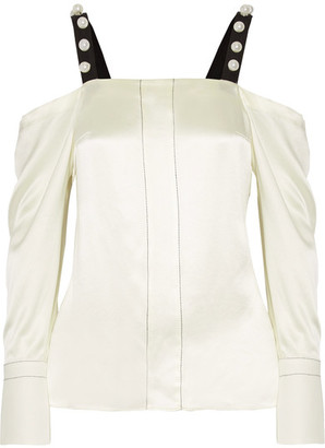 3.1 Phillip Lim - Cold-shoulder Faux Pearl-embellished Silk-satin Blouse - Cream $495 thestylecure.com